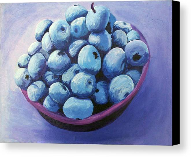 Blueberries Canvas Print featuring the painting Blueberries by Karen Aune