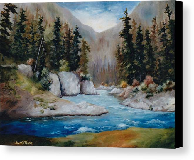 Landscape Canvas Print featuring the painting Rushing Waters by Brenda Thour