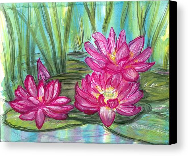Pondscape Canvas Print featuring the painting Summer Pond After A Rain by Laura Johnson