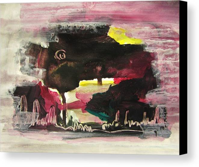 Dusk Paintings Canvas Print featuring the painting Abstract Twilight Landscape71 by Seon-Jeong Kim