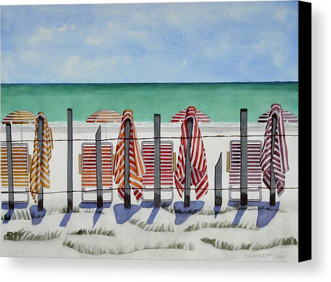 Beach Canvas Print featuring the painting Preparing For A Day At The Beach by Cory Clifford