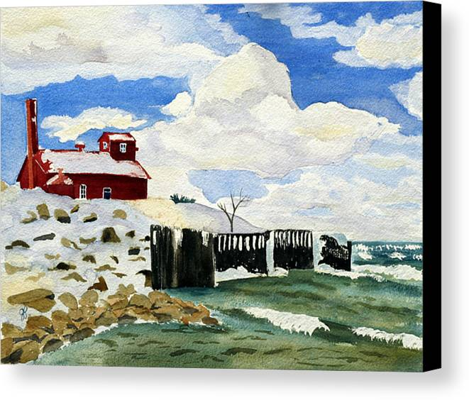 Landscape Canvas Print featuring the painting Pt Betsie by Julie Pflanzer