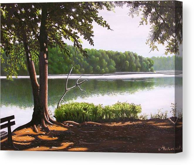 Landscaoes Canvas Print featuring the painting Morning At City Lake Park by Larry Hoskins