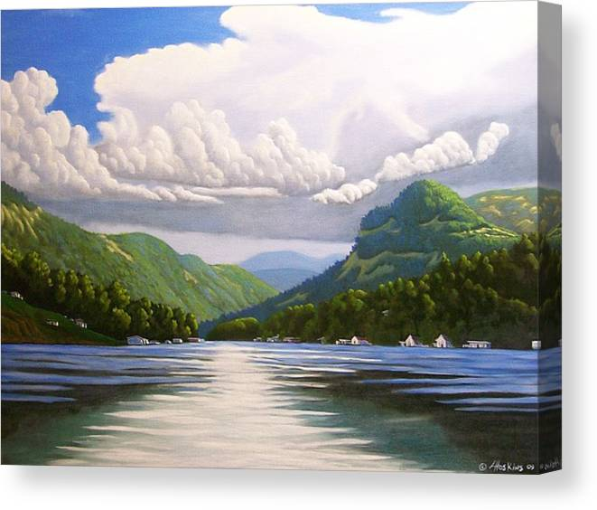 Landscapes Canvas Print featuring the painting Off The Boat by Larry Hoskins