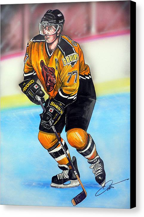 Hockey Canvas Print featuring the painting Boston Bruins Ray Bourque by Dave Olsen