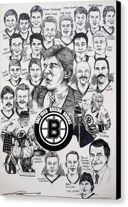 Championship Poster Canvas Print featuring the drawing 1988 Boston Bruins Newspaper Poster by Dave Olsen
