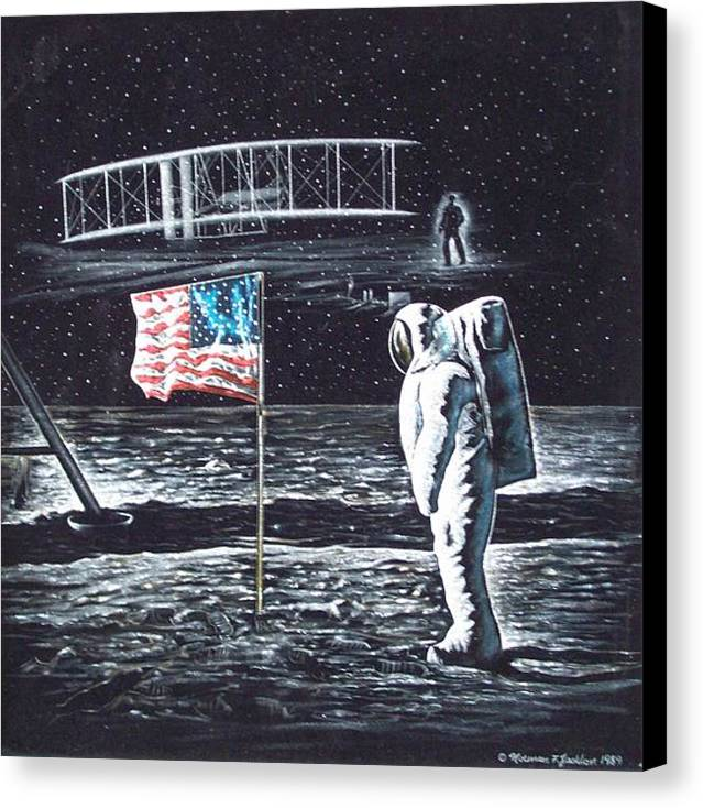 Powered Flight Canvas Print featuring the painting If They Only Knew by Norman F Jackson