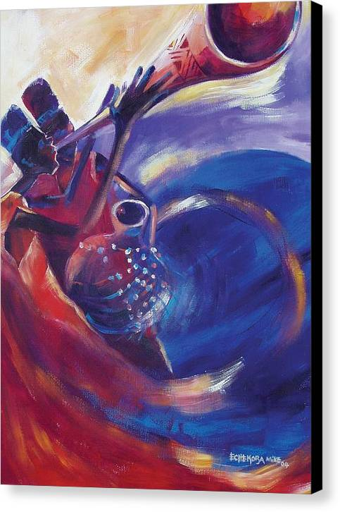 Canvas Print featuring the painting Reaching Out by Michael Echekoba
