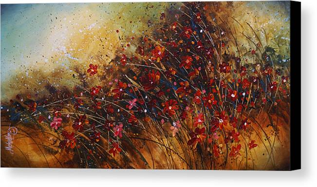 Red Flowers Canvas Print featuring the painting Wild by Michael Lang