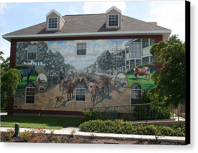 Mural Canvas Print featuring the painting Cattle Drive Down Marion Avenue 1903 by Michael Vires