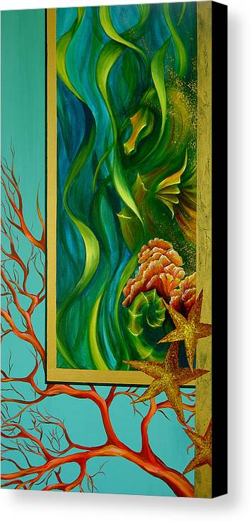 Ocean Sea Seahorse Coral Underwater Starfish Beach Tropical Layered Collage Canvas Print featuring the painting Aquatica by Dina Dargo