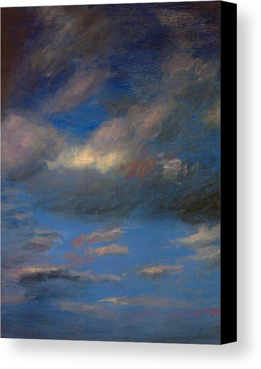 Blue Canvas Print featuring the painting Blu 5 by John Busuttil Leaver