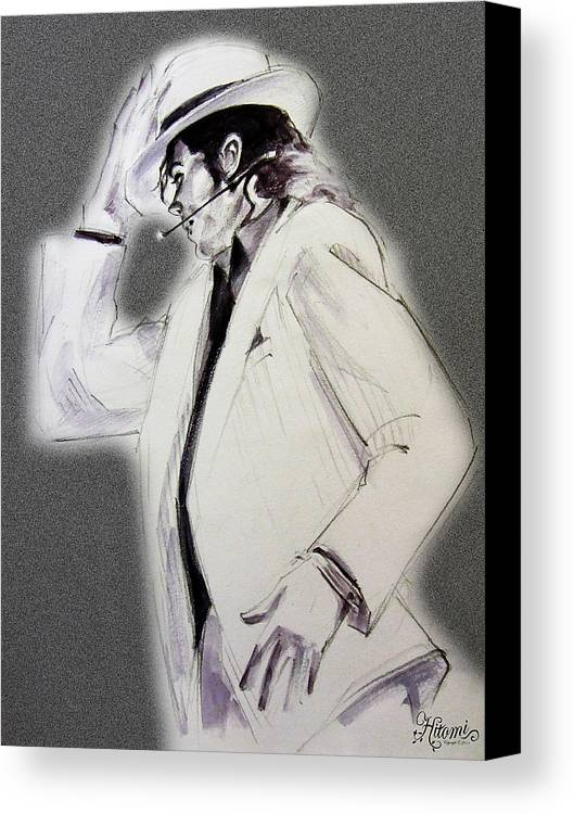 Michael Jackson Canvas Print featuring the drawing Michael Jackson - Smooth Criminal In Tii by Hitomi Osanai