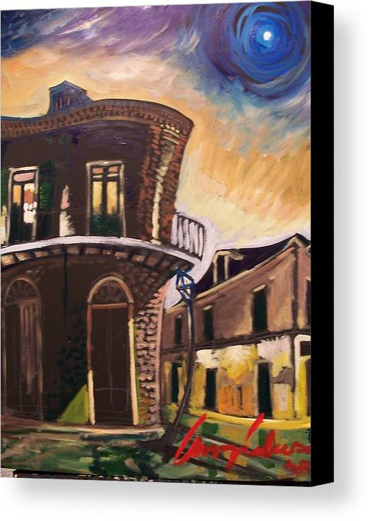 Cityscape Canvas Print featuring the painting Royal St Sunrise by Amzie Adams