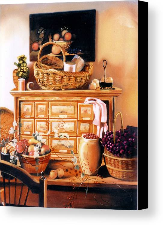 Still Life Canvas Print featuring the painting Still Life by Chonkhet Phanwichien