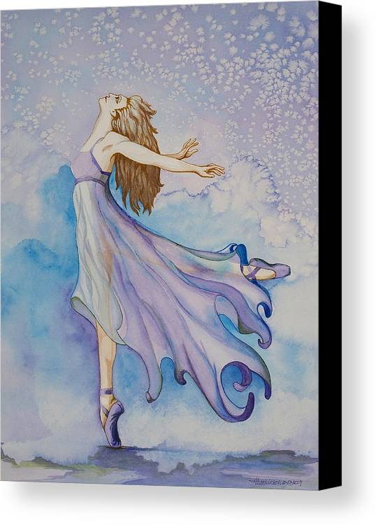 Ballet Dancer Canvas Print featuring the painting Ballerina Performs by Joyce Hutchinson