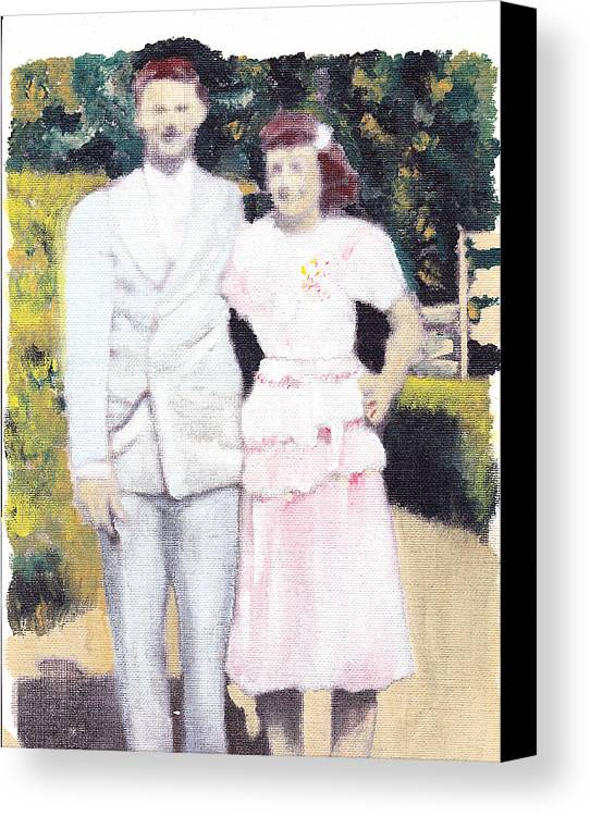 Wedding Canvas Print featuring the painting Caits Mom And Dad by David Poyant