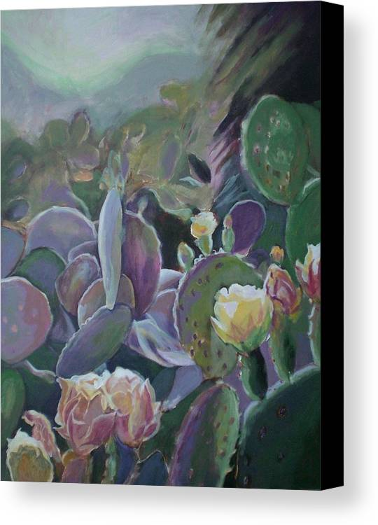 Cactus Canvas Print featuring the painting Desert Life by Aleksandra Buha