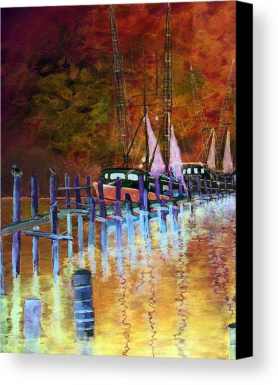 Shrimpboat Canvas Print featuring the painting Shrimpboats by Carol Sprovtsoff