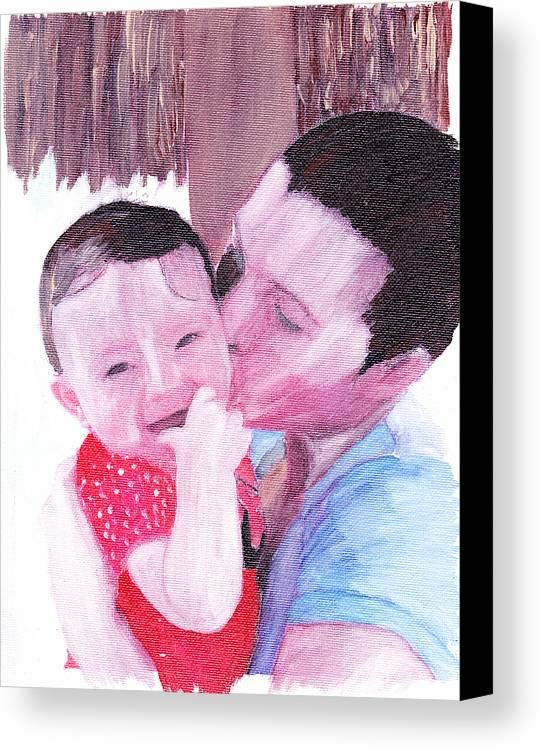 Family. Portrait Canvas Print featuring the painting The Kiss by David Poyant