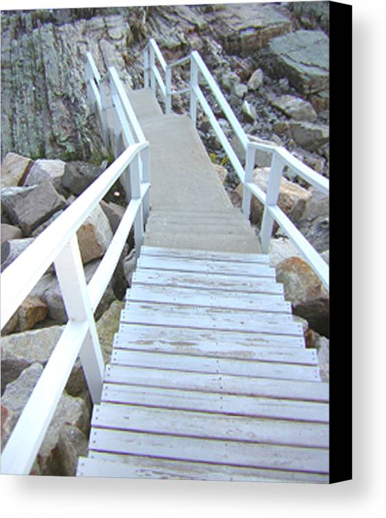 Cliff House Canvas Print featuring the photograph Cliff House Stairs by Heather Weikel