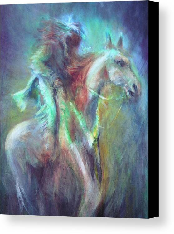 Native American Canvas Print featuring the painting Ghost Rider by Elizabeth Silk