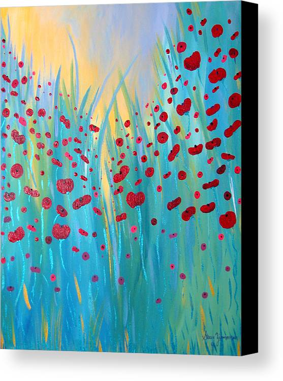 Poppies Canvas Print featuring the painting Sunlit Poppies by Stacey Zimmerman
