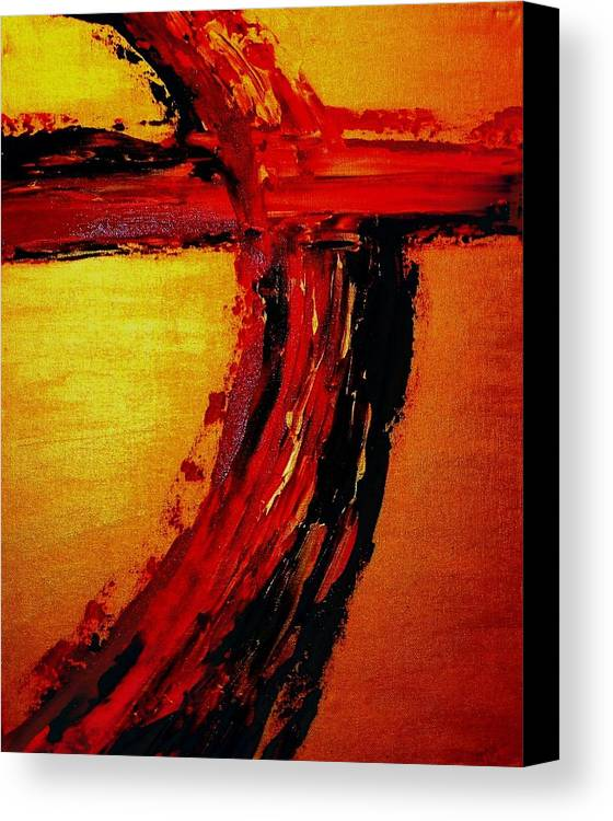 Cross Canvas Print featuring the painting Where Your Blood Was Shed For Us by Etta Harris