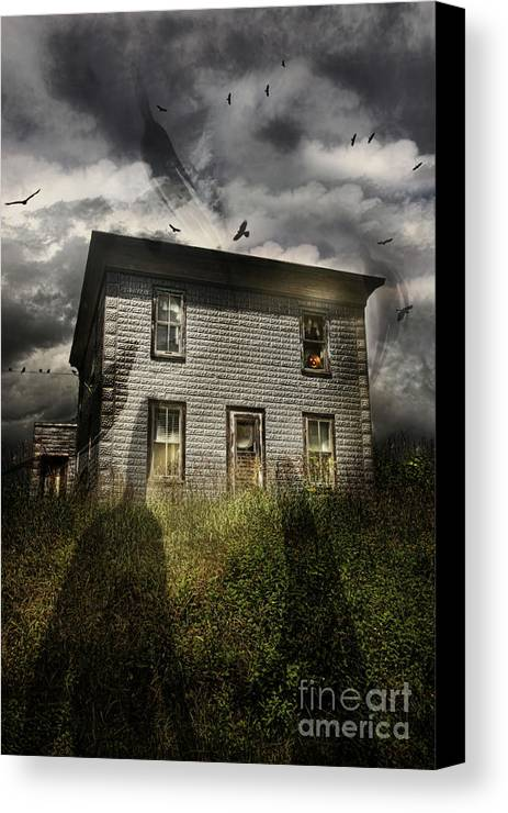 Aged Canvas Print featuring the photograph Old Ababdoned House With Flying Ghosts by Sandra Cunningham