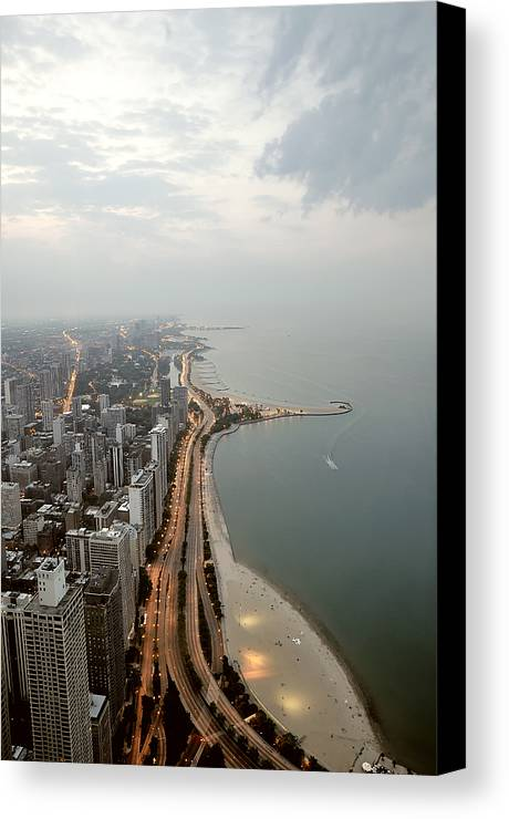Vertical Canvas Print featuring the photograph Lake Michigan And Chicago Skyline. by Ixefra