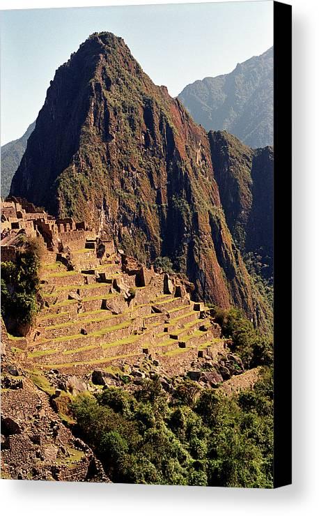 Vertical Canvas Print featuring the photograph The Ruins Of Machu Picchu, Peru, Latin America by Brian Caissie