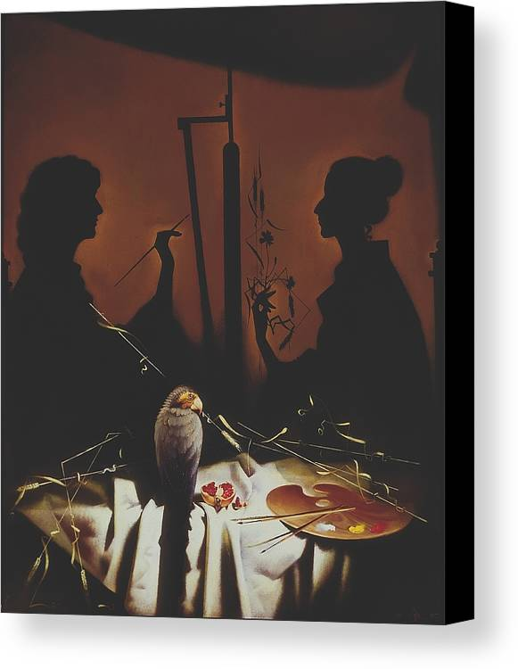 Figures Canvas Print featuring the painting In Atelier by Andrej Vystropov