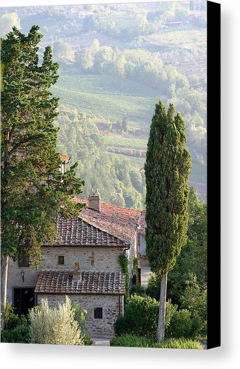 Italy Canvas Print featuring the photograph Tuscan Farmhouse At Villa Vignamaggio by Mathew Lodge