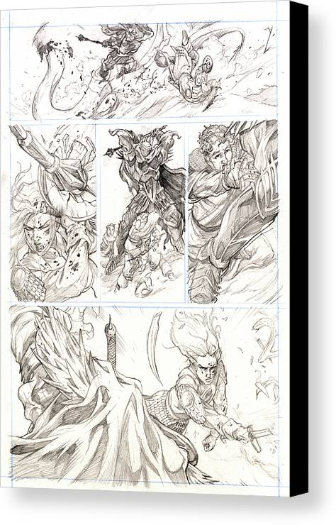 Lord Of The Rings Canvas Print featuring the drawing Eowyn Vs. Nazgul Pg 2 by Storn Cook