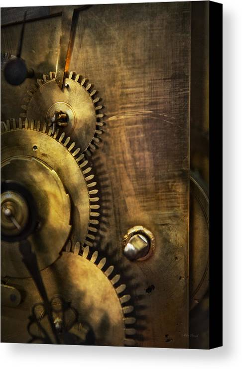 Clock Canvas Print featuring the photograph Steampunk - Toothy by Mike Savad