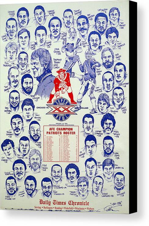 Nfl Canvas Print featuring the drawing 1985 New England Patriots Superbowl Newspaper Poster by Dave Olsen