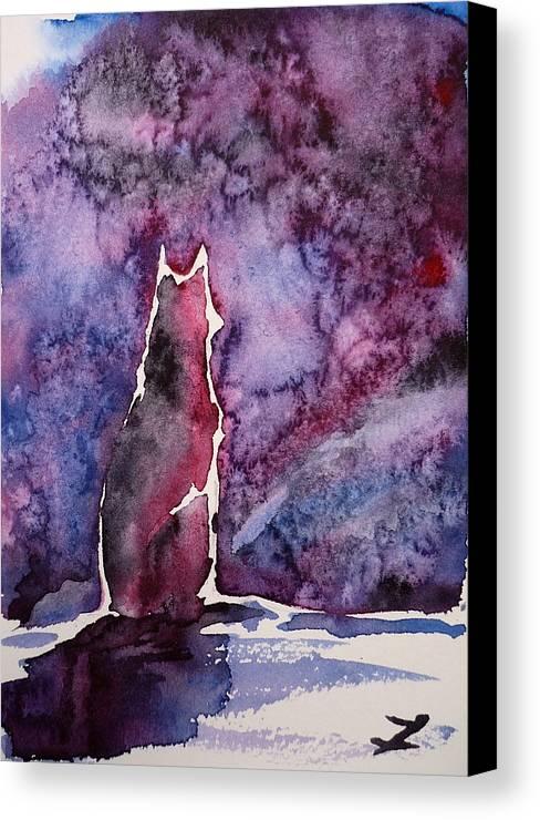 Dog Canvas Print featuring the painting Waiting by Zaira Dzhaubaeva