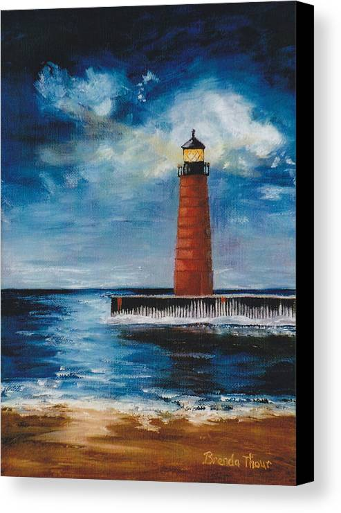 Lighthouse Canvas Print featuring the painting Lonely Beacon by Brenda Thour