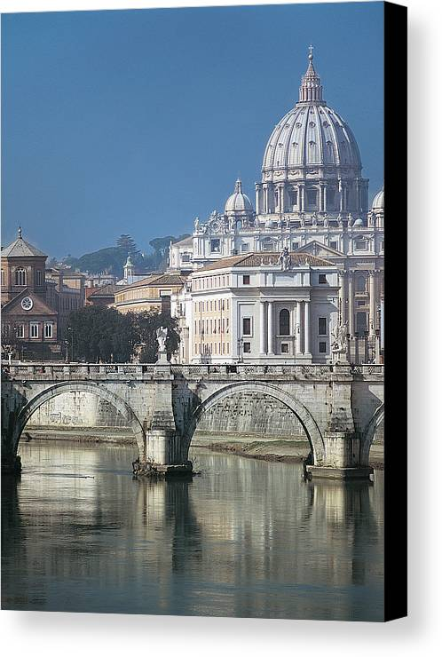 Vertical Canvas Print featuring the photograph St Peters Basilica, Rome, Italy by Martin Child