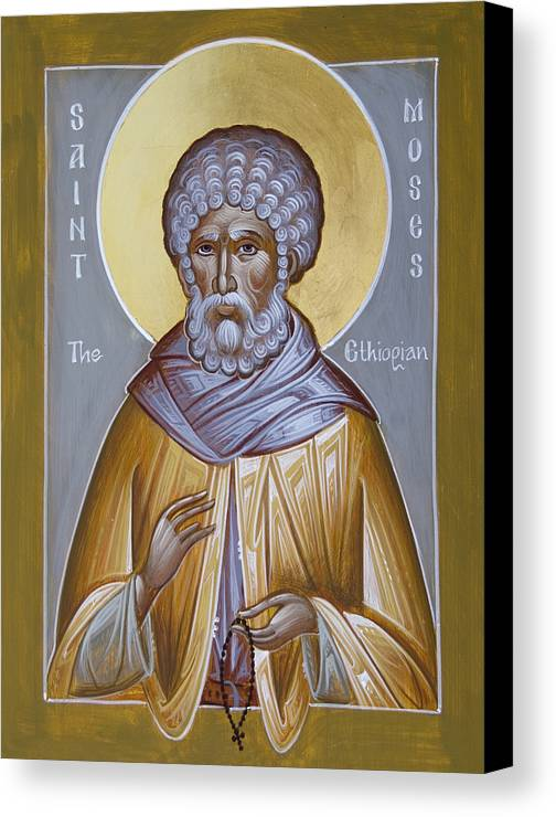 St Moses The Ethiopian Canvas Print featuring the painting St Moses The Ethiopian by Julia Bridget Hayes