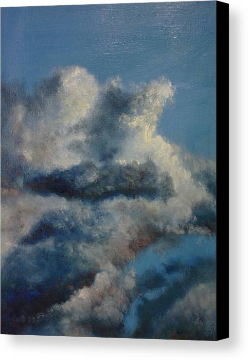 Blue Canvas Print featuring the painting Blu 2 by John Busuttil Leaver