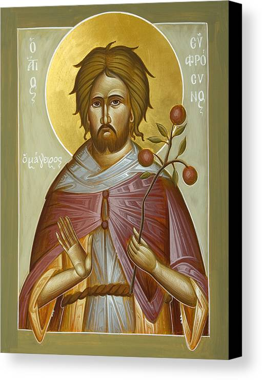 St Euphrosynos The Cook Canvas Print featuring the painting St Euphrosynos The Cook by Julia Bridget Hayes