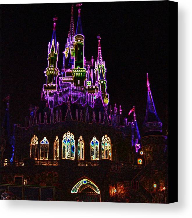 Castle Canvas Print featuring the photograph Neon Castle by Lindsay Clark