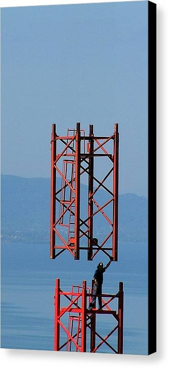 Construction Canvas Print featuring the photograph Strong Man by Jean-Michel Ammon