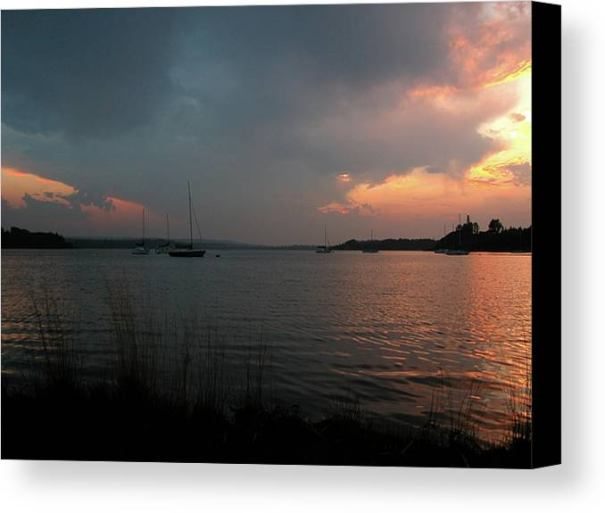 Glenmore Reservoir Canvas Print featuring the photograph Glenmore Reservoir - Sunset 3 by Stuart Turnbull