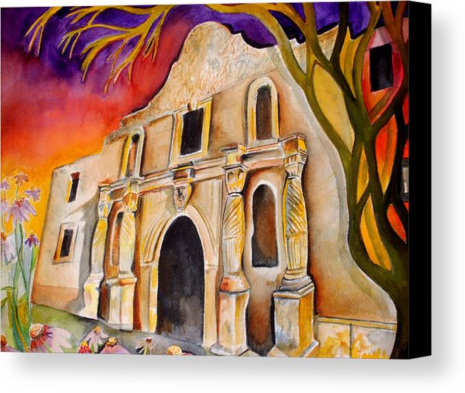Alamo Canvas Print featuring the painting The Alamo by Susan Wester Perez