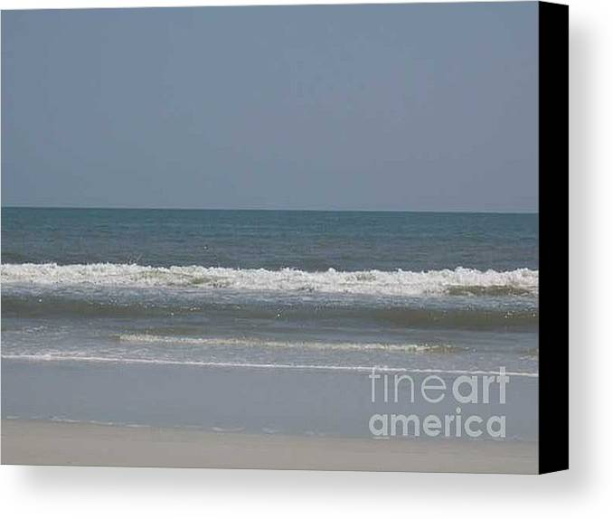 The Beach Near St. Augustine Canvas Print featuring the photograph Watching The Waves by Barb Montanye Meseroll