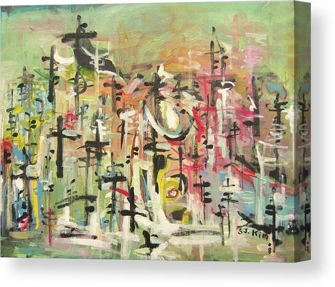 Blow Me Down Painting Canvas Print featuring the painting Blow Me Down11 by Seon-Jeong Kim