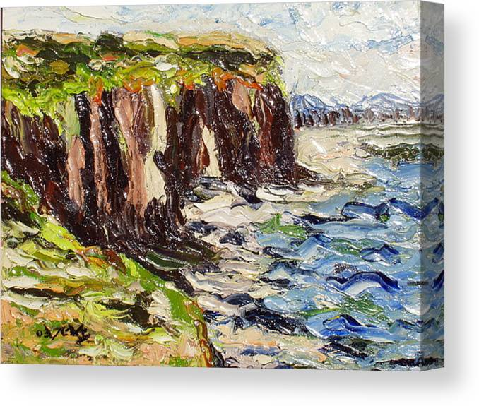 Abstract Paintings Canvas Print featuring the painting Cliff by Seon-Jeong Kim