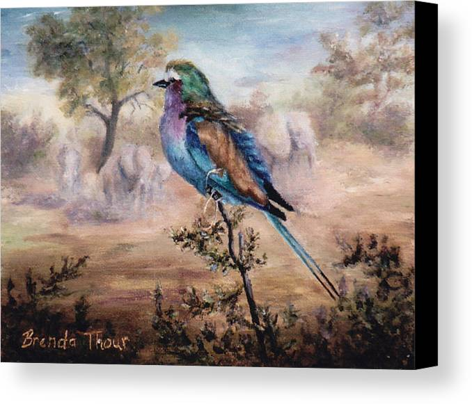 Bird Canvas Print featuring the painting African Roller by Brenda Thour